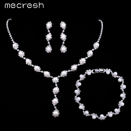 Simulated Pearl Simple Crystal Necklace Earrings Bracelets Bridal Set