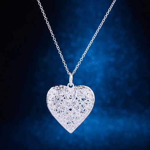 Silver Plated Heart Necklace Pendant