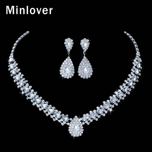 Crystal Teardrop Rhinestone Choker Necklace and Earrings Bridal Set