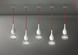 Blubb Mini Ceiling Pendants in white with red cable