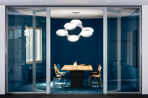 Cosmo Pendant Lamp from Next over a dining Table Setting