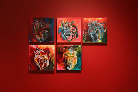 Painting of Heart set of five acrylics on canvas