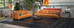 Freistil by Rolf Benz 133 Sofa in leather in cognac color leather