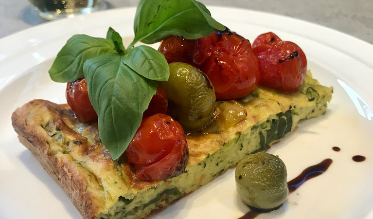 Recipe 10: Zucchini and basil slice with roasted balsamic cherry tomatoes