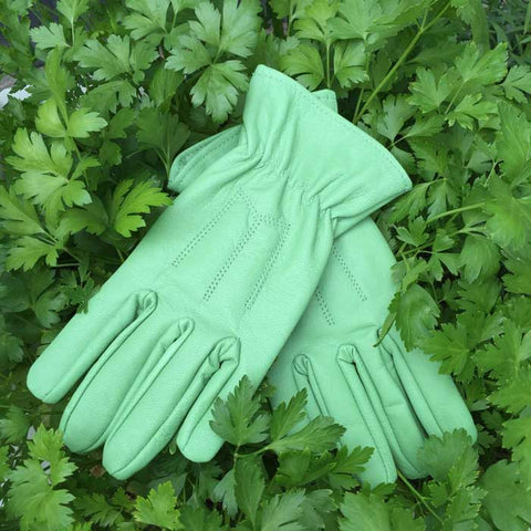 Green Leather Gloves for Gardening