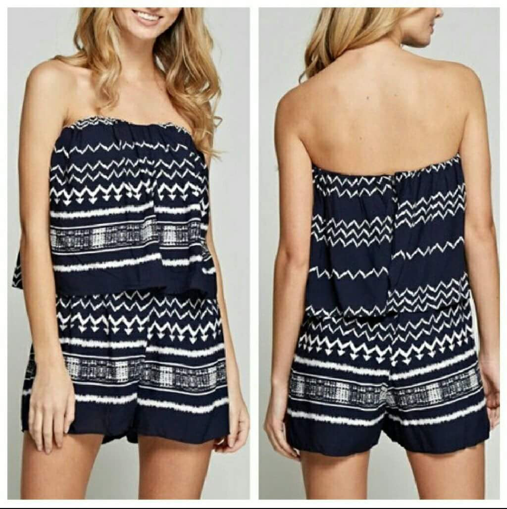 Navy Tribal Romper