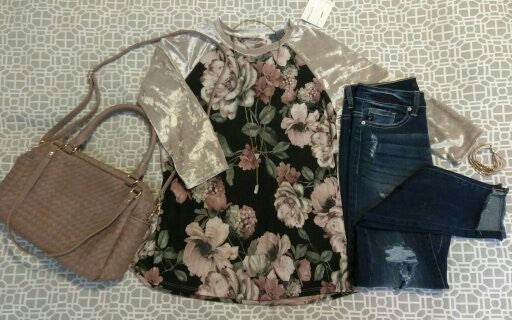 Velvet Sleeve Floral Top