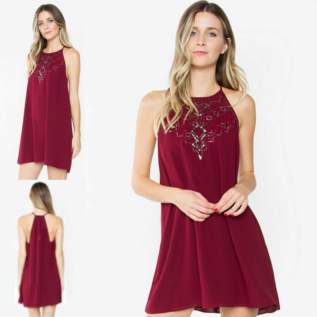 Geo Detail Burgundy Dress