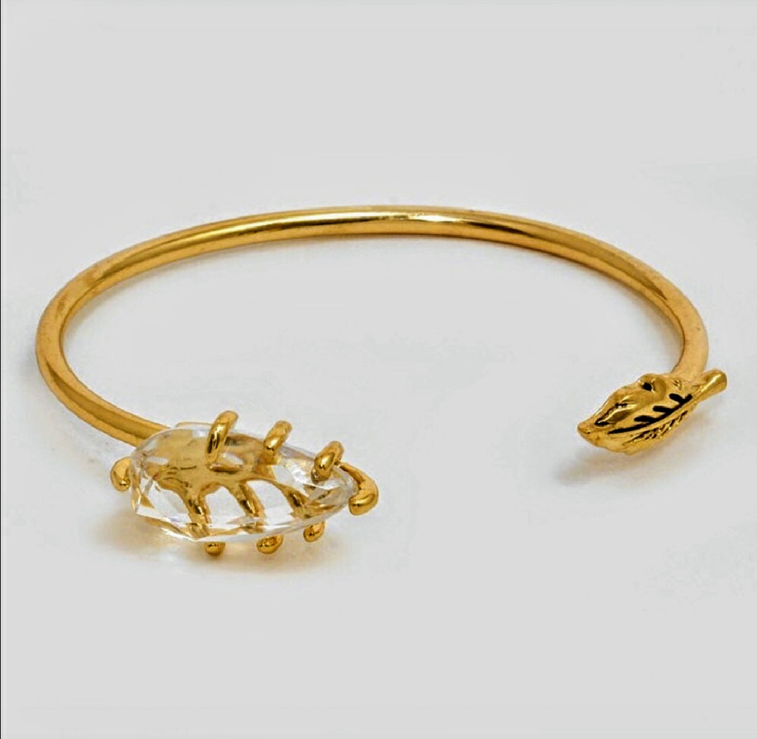 Gem and Leaf Cuff Bracelet