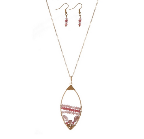 Teardrop Bead Pendant Necklace with Drop Bead Earrings