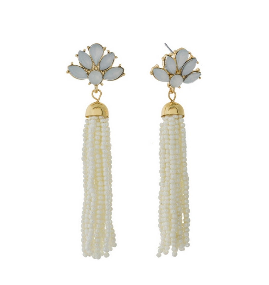 White Tassel Opal Rhinestone Earrings
