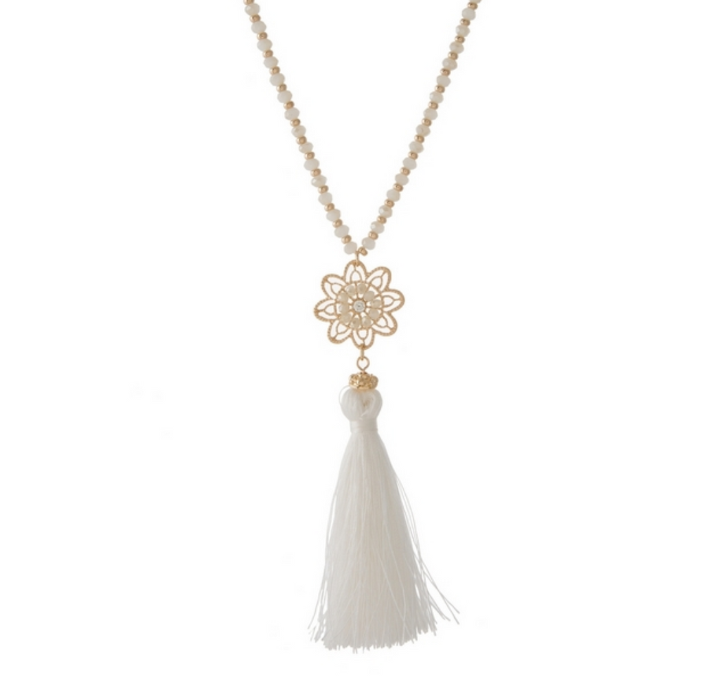 White Tassle Necklace