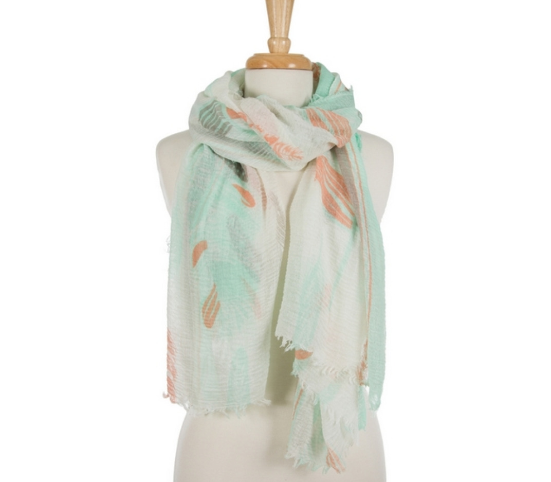 Mint Feather Scarf