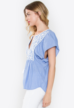 Blue Folk Top
