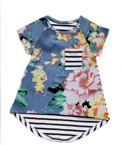 Girls Blue Floral and Stripes