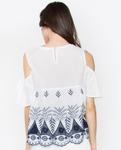 Embrordered Gala Cold Shoulder Top