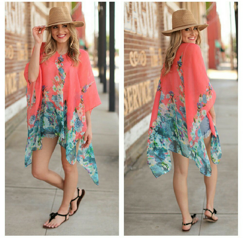 Floral Poncho Coral