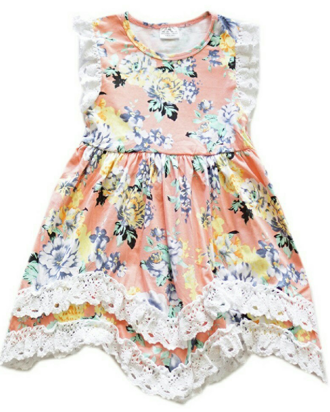 Girls Peach Floral and Lace