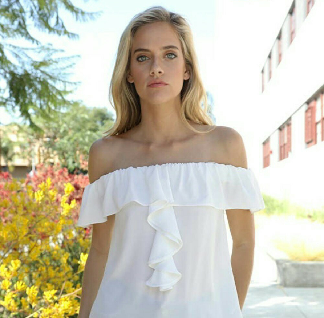 Double Ruffle White Top