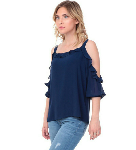 Navy Ruffle Cold Shoulder