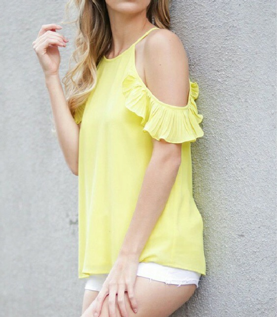 Yellow Ruffle Cold Shoulder