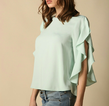 Light Mint Ruffle Sleeve Top