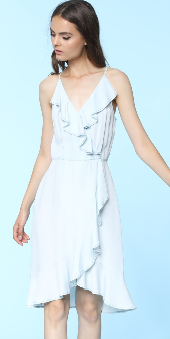 Cream Blue Denim Dress