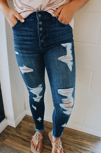 All Over Distressed Dark Denim