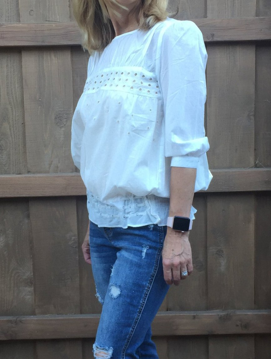 White Circle Blouse