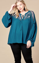 Teal Lace Top in Plus