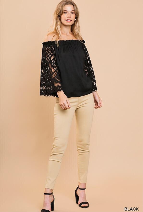 Lace sleeve off the shoulder top