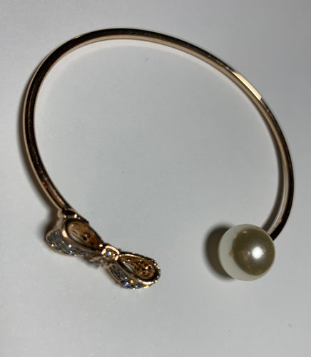 Open Cuff Perl and Bow Bracelet