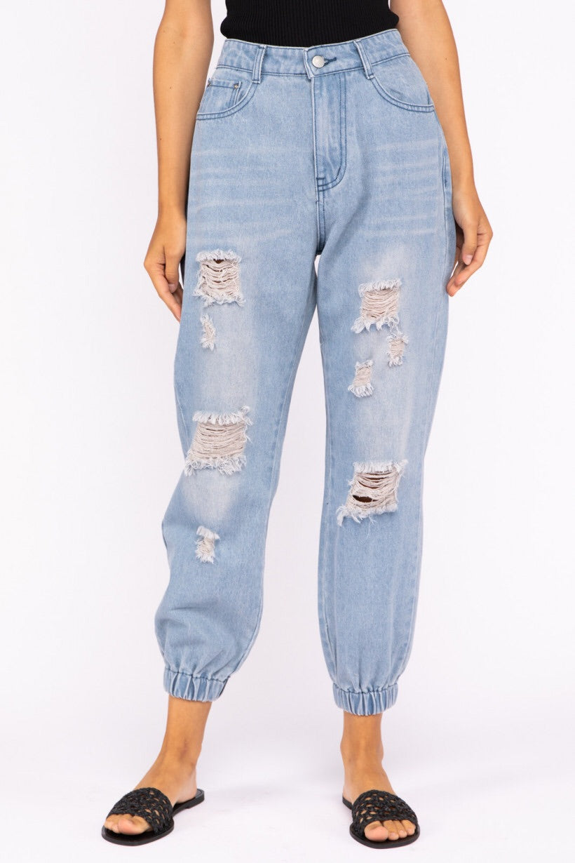 High rise denim joggers