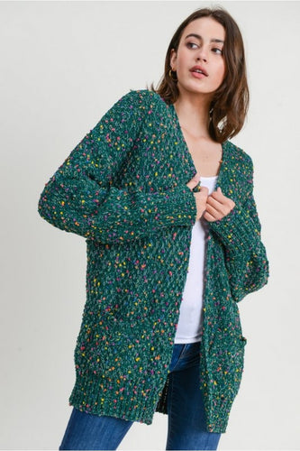 Evergreen Speckled Cardigan