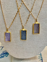 Rectangle 22K Gold Druzy Pendants
