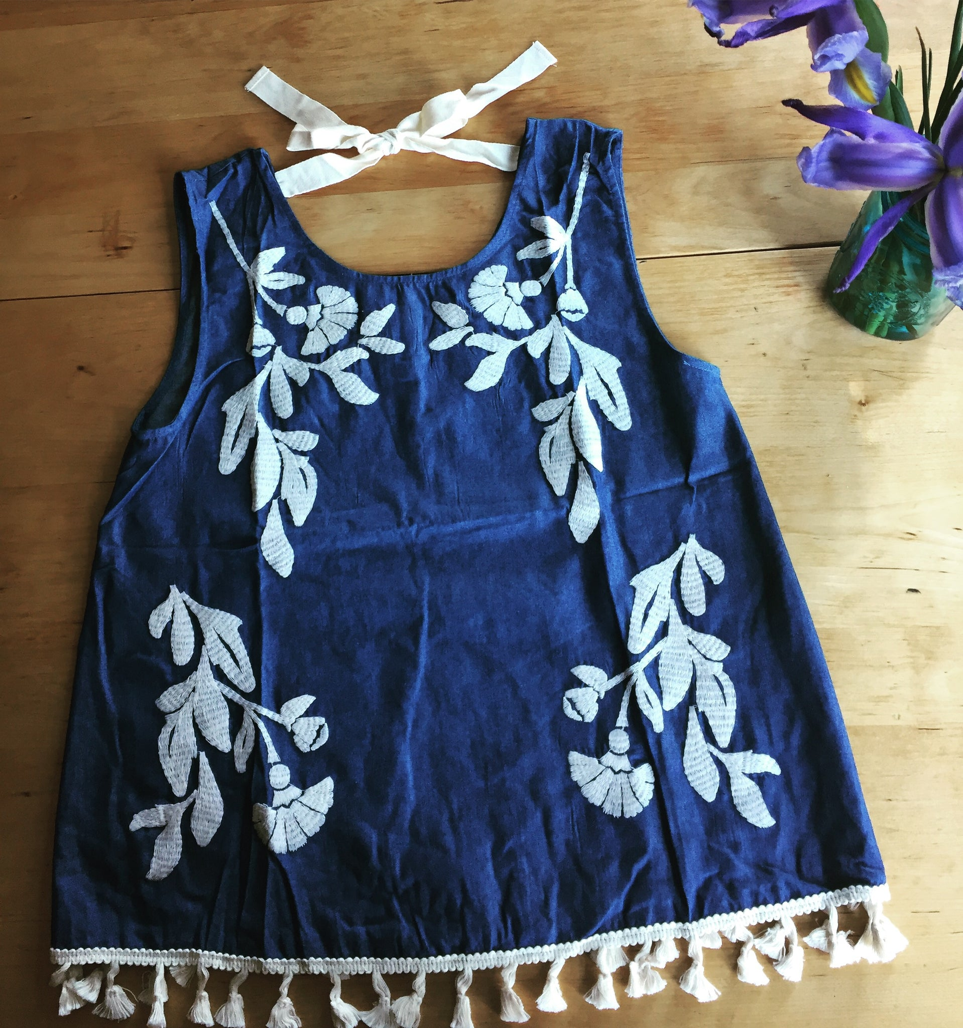 Embroidered Denim Tank