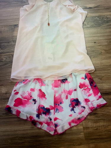 Floral Pink Ruffle Shorts