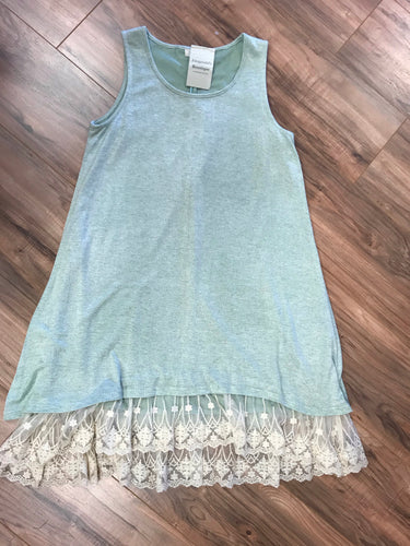 Sage Lace Trim Dress