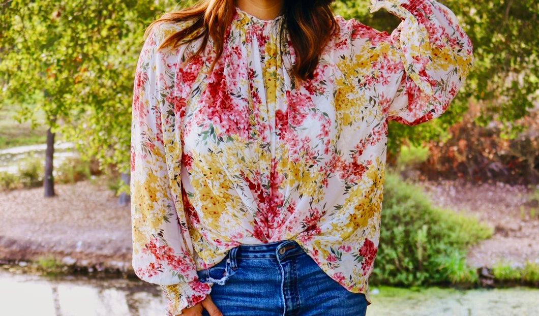 Fall floral long sleeve top