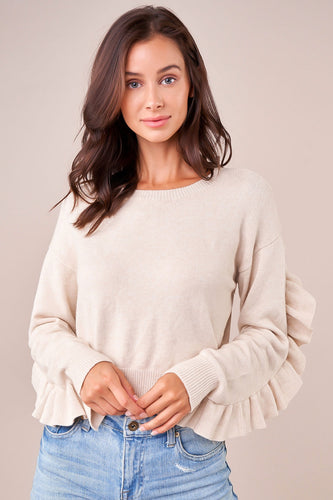 Ruffle Cream Sweater