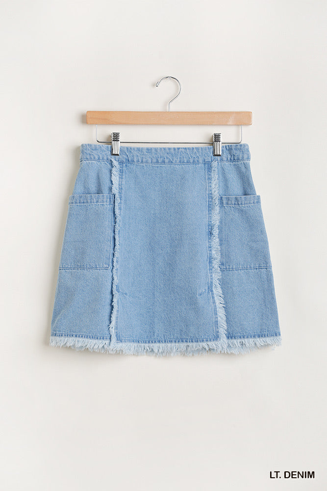 Light Wash Frayed Denim Skirt