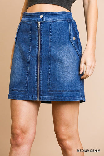 Zip Denim Skirt
