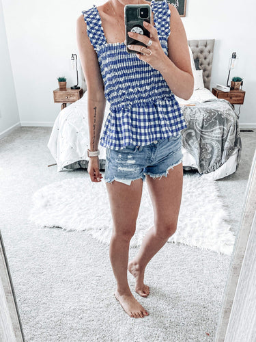 Blue Gingham Summer Top