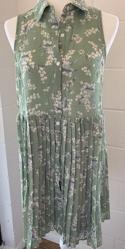 Pleated Sage Dress