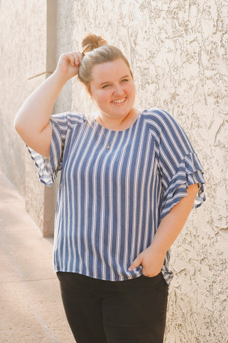Summer Striped Plus Top