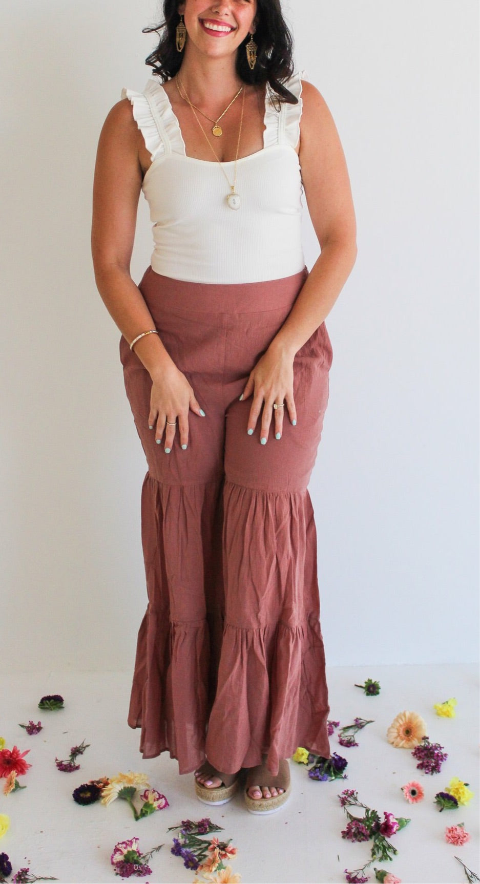 Linen Tiered Bell Bottoms