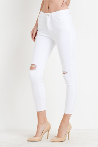 High Rise White Denim Pants