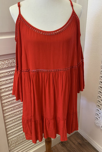Red Cold Shoulder Dress Plus
