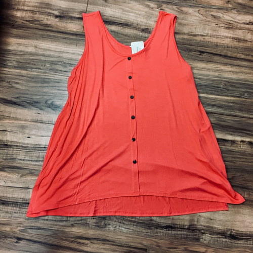 Coral Button Front Tank in Plus