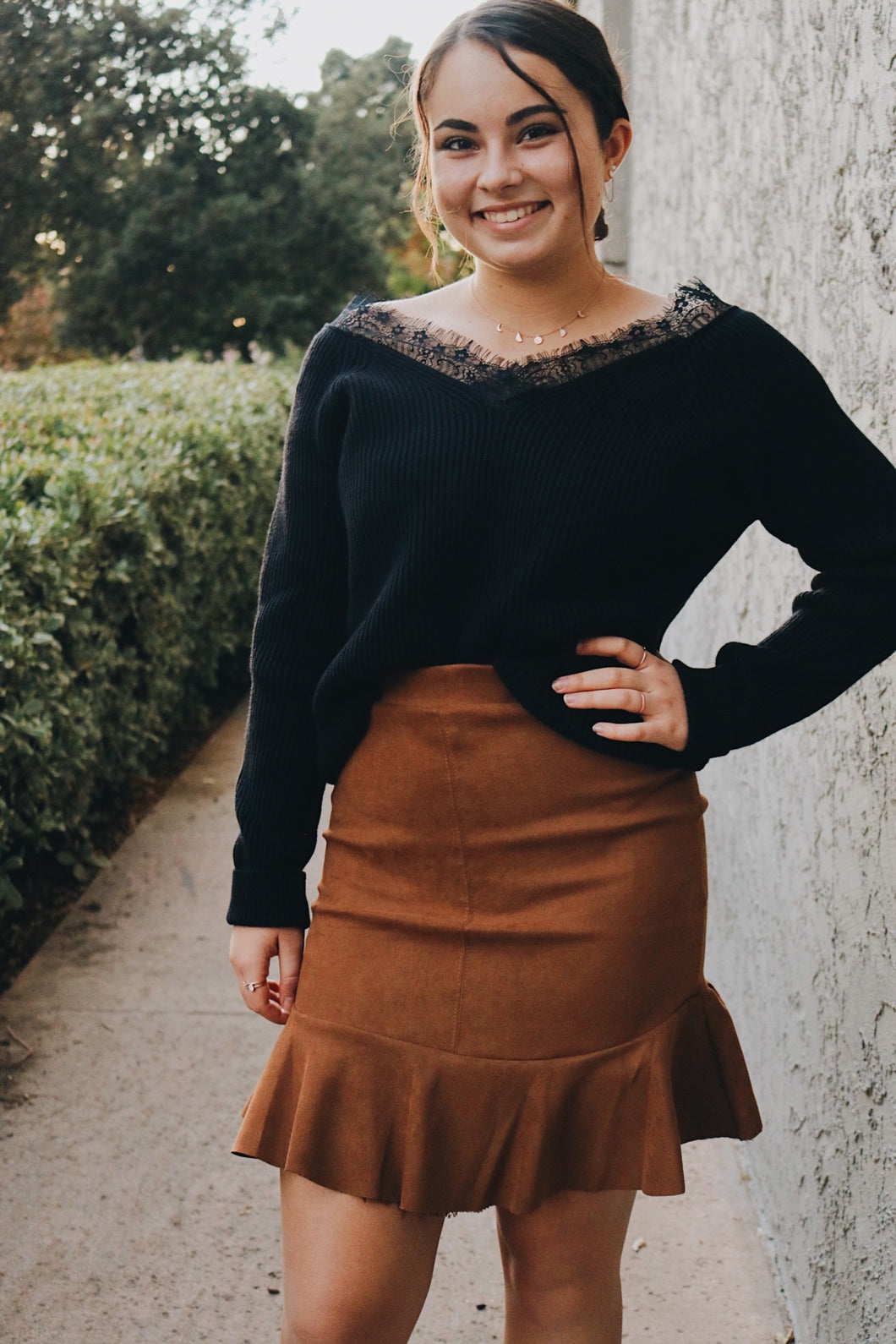 Suede fit and flare skirt